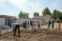 Activités de jardinage dans un camp de réfugié allemand Photos libres de droits