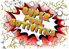 Activités superbes de piscine - mots de style de bande dessinée illustration libre de droits