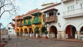 Activiteit in Plaza DE La Aduana in historisch centrum van Cartagena Stock Afbeelding