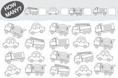 Activiteit voor kinderen Tellend Onderwijsspel Kleurend boek vervoer stock illustratie