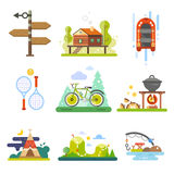 Activiteiten in het bos royalty-vrije illustratie