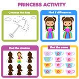 Activiteitenpagina voor jonge geitjes Onderwijsdiekinderenspel voor meisjes wordt geplaatst Prinsesthema stock illustratie