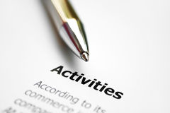 Activities. Close up of business form - activities Stock Images