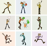 Activities. Nine illustrations of characters acting in different ways and situations, singing, reading, jumping, running, blowing balloons, waving banners Royalty Free Stock Image