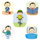 Activities of a boy Royalty Free Stock Images