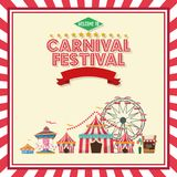 Activities of carnival and festival design. Ferris wheel carousel striped tents and stand. Carnival festival fair circus and celebration theme. Colorful and stock illustration