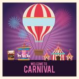 Activities of carnival and festival design. Hot air balloon carousel tents and stand. Carnival festival fair circus and celebration theme. Colorful design vector illustration