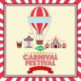 Activities of carnival and festival design. Hot air balloon carousel tents and stands. Carnival festival fair circus and celebration theme. Colorful design stock illustration