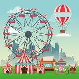 Activities of carnival and festival design. Hot air balloon ferris wheel carousel striped tents and stand. Carnival festival fair circus and celebration theme stock illustration
