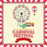 Activities of carnival and festival design. Hot air balloon ferris wheel and stands. Carnival festival fair circus and celebration theme. Colorful and frame Royalty Free Stock Photo
