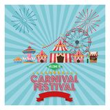 Activities of carnival and festival design. Striped tent carousel and ferris wheel icon. Carnival festival fair circus and celebration theme. Colorful design Stock Photo