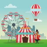 Activities of carnival and festival design. Striped tent ferris wheel man and hot air balloon icon. Carnival festival fair circus and celebration theme. Colorful Royalty Free Stock Image