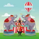 Activities of carnival and festival design. Striped tent hot air balloon man and elephant icon. Carnival festival fair circus and celebration theme. Colorful Royalty Free Stock Photography