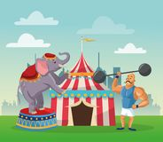 Activities of carnival and festival design. Striped tent strength man and elephant icon. Carnival festival fair circus and celebration theme. Colorful design Stock Images