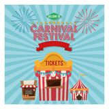 Activities of carnival and festival design. Striped tent and tickets icon. Carnival festival fair circus and celebration theme. Colorful design. Vector Stock Image