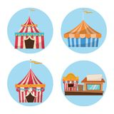 Activities of carnival and festival design. Striped tents with flags and stand. Carnival festival fair circus and celebration theme. Colorful design. Vector royalty free illustration