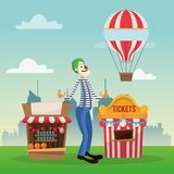 Activities of carnival and festival design. Tickets tent hot air balloon and clown icon. Carnival festival fair circus and celebration theme. Colorful design Stock Photo