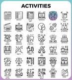Daily Activities concept detailed line icons Royalty Free Stock Photography