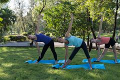 Activities in family, mother and daughter on a yoga mat to relax. In the park outdoor, Concept of healthy lifestyle and relaxation Stock Image