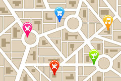 Activities. Finding activities and locations in the city Royalty Free Stock Photography