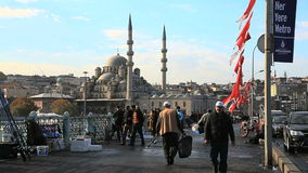 Activities on Galata Bridge in Istanbul, Turkey Stock Image