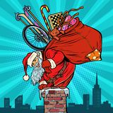 Activities and games. Santa Claus with gifts climbs into the chi vector illustration