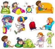 Daily activities of kids Stock Photos