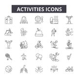 Activities line icons. Editable stroke signs. Concept icons: active people, woman lifestyle, man leisure, happy summer royalty free illustration
