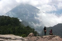 Activities of the people on the slopes of Mount Merapi Stock Photography