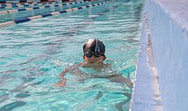 Activities on the pool, children swimming and Stock Photography