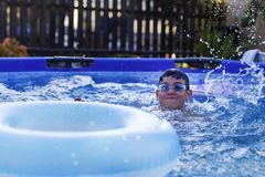 Activities on the pool, children swimming and playing in water, happiness and summertime. The Activities on the pool, children swimming and playing in water royalty free stock photography