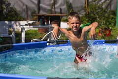 Activities on the pool, children swimming and playing in water, happiness and summertime. The Activities on the pool, children swimming and playing in water royalty free stock images