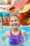 Activities on the pool. Cute girl in swimming pool Royalty Free Stock Photos