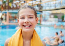 Activities on the pool. Cute girl in swimming pool Stock Image