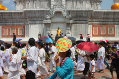 Activities of Thai people in Magha Puja Day Stock Photos