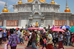 Activities of Thai people in Magha Puja Day Royalty Free Stock Images