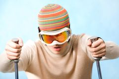 Activity. Portrait of healthy sportsman in goggles skiing on resort Royalty Free Stock Photo