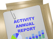 Activity Annual Report - business concept. 3D illustration of ACTIVITY ANNUAL REPORT title on business document Stock Images