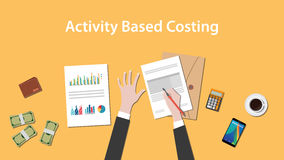 Activity based costing illustration with a man writing on paperwork with money, calculator and folder document on top of. Table vector Royalty Free Stock Images
