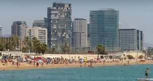 Beaches and architecture of Barcelona city.Time lapse. stock footage