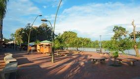 Daily activity on the boardwalk in El Coca. El Coca is a village along the Napo river. Puerto Francisco de Orellana, Orellana / Ecuador - June 7 2016: Daily Royalty Free Stock Photo
