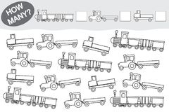 Activity for children. Educational game. Count how many transport and color them.  vector illustration