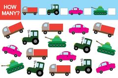Activity for children. Educational game, How many transports?. Activity for children. Educational game. How many transports vector illustration