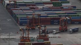 Activity in the container terminal.Time Lapse stock video footage