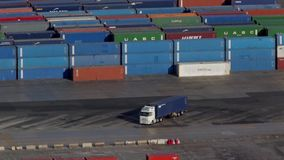 Activity in the container terminal.Time Lapse stock video