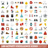 100 activity excellence icons set, flat style. 100 activity excellence icons set in flat style for any design vector illustration Stock Photography