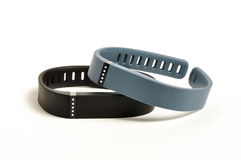 Activity fitness trackers. On white background royalty free stock photos