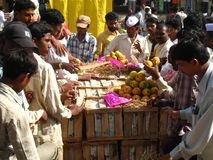Activity in the fruit market during mango season royalty free stock photography