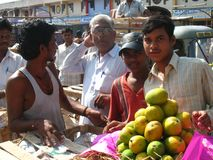 Activity in the fruit market during mango season stock photos