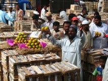 Activity in the fruit market during mango season Stock Image